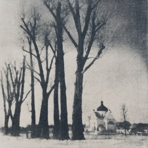 """""""Nunnery"""" © Victor Senkov. Print from handmade pinhole plate from vintage Soviet Svema B/W film. Approx. 5.1x5.1"""" (13x13cm) handcrafted alternative process photograph (cyanotype, toned). GALLERY5X7 offers this signed, numbered and stamped original artist print at $250."""