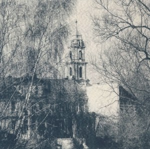 """""""Vilnius II"""" © Victor Senkov. Print from handmade pinhole plate from vintage Soviet Svema B/W film. Approx. 5.1x5.1"""" (13x13cm) handcrafted alternative process photograph (cyanotype, toned). GALLERY5X7 offers this signed, numbered and stamped original artist print at $250."""
