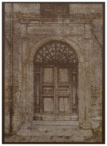 """""""Church Door Norcia"""" © Alan Glover. Approx 7x5"""" handcrafted gum bichromate print from a single negative using watercolour pigments on Hahnemuhle Platinum Rag paper. GALLERY5X7 offers this original print, signed on the mount (mount size 12x8.25""""), at $250."""