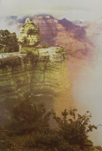 """""""Grand Canyon National Park"""" © Tom Wise. Fog uplift near Duck Rock at Grand Canyon National Park in Arizona. Approx. 14x21"""" (35.6x53.3cm) handcrafted alternative process photograph (gum bichromate over cyanotype). GALLERY5X7 offers this signed, original print."""