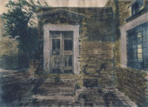 """She Lives Here"" © Alex Mavromaras. The doorstep of writer MK's house in the island of Tinos. Approx. 9.5x7.5"" (24x19cm) handcrafted alternative process photograph (toned cyanotype on vellum, etched and painted over with drawing and watercolor pencils). GALLERY5X7 offers this signed, original print at $250."