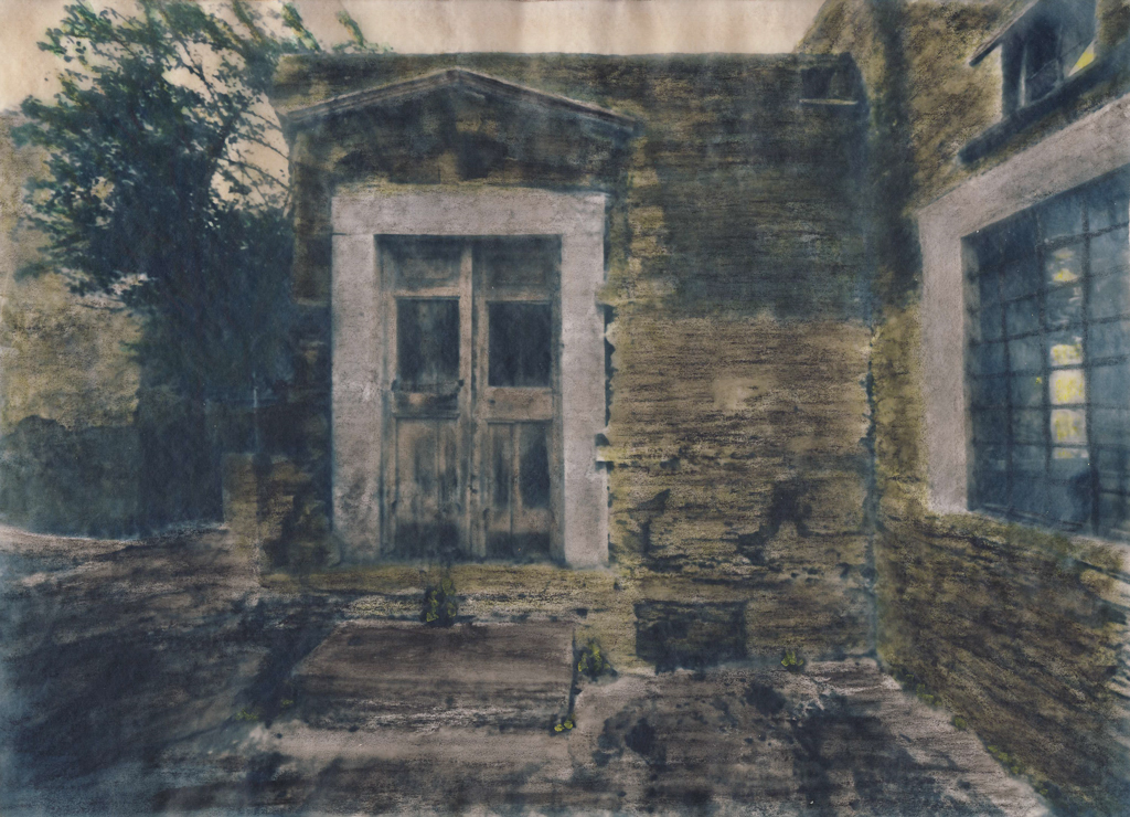 """""""She Lives Here"""" © Alex Mavromaras. The doorstep of writer MK's house in the island of Tinos. Approx. 9.5x7.5"""" (24x19cm) handcrafted alternative process photograph (toned cyanotype on vellum, etched and painted over with drawing and watercolor pencils). GALLERY5X7 offers this signed, original print at $250."""
