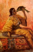 Charlet_Frantz_A_Moroccan_Beauty_Holding_A_Parrot