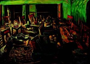 Shepherd Mahufe, Meeting, 2012, Mixed Media on Canvas, 100 x 125 cm