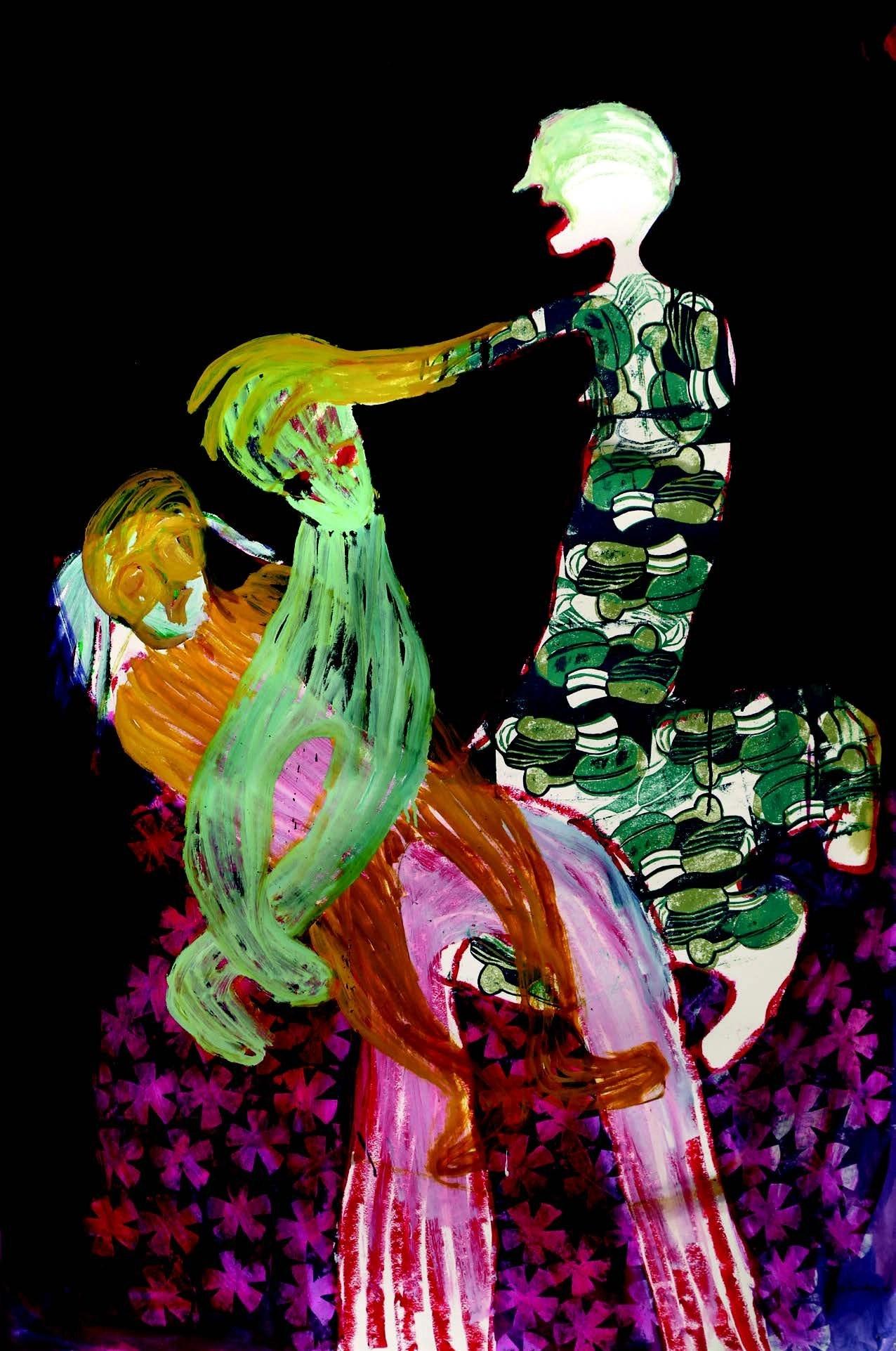 Portia Zvavahera, I pray for you, Mixed Media on Paper, 150 x 99 cm