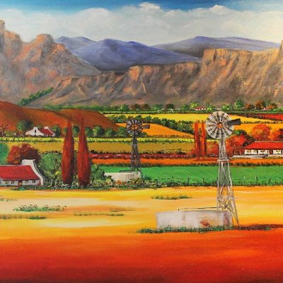 Helena Kruger farm scene with windmill
