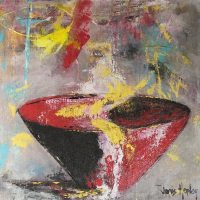 Janis Hopley red bowl abstract