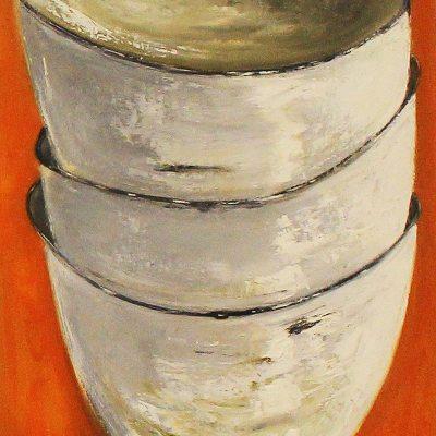 Janis Hopley 3 white bowls on orange background