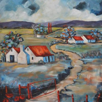 painting of a pathway leading past farmhouses