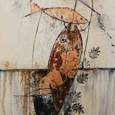 brown and bronze abstract painting with fish