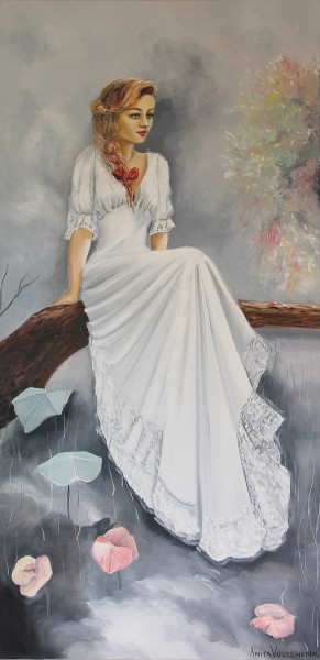 painting of a lady wearing a white dress, sitting on a branch