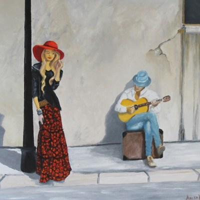 Painting of a lady listening to a man playing guitar