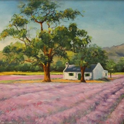 painting of lavender farm scene