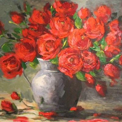Painting of a vase filled with red flowers