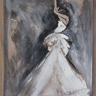 painting of a woman in a white dress