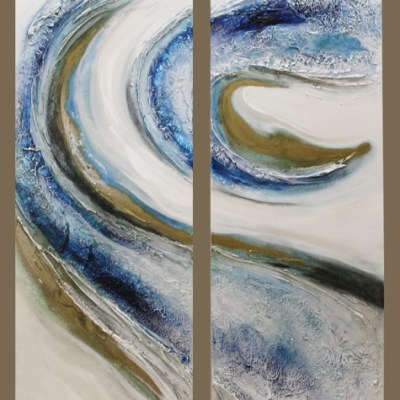 blue white and gold abstract painting