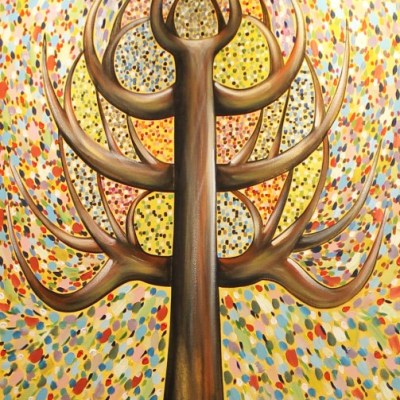 colourful abstract painting of a tree