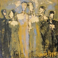 abstract painting of 6 people