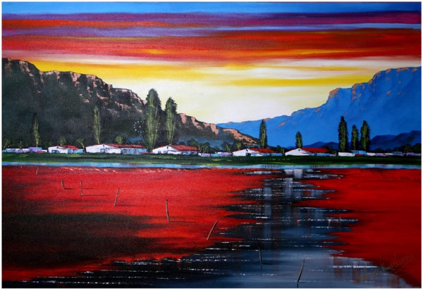 Colourful painting of sunset scene
