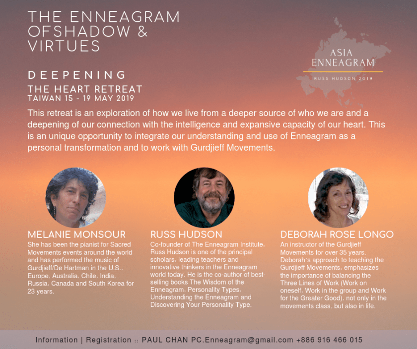 Deepening Enneagram and Gurdjieff work with Russ Hudson, Deborah Rose Longo and Melanie Monsour