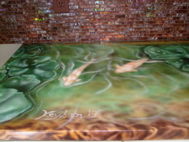 Custom Air Brush - countertops Lilies