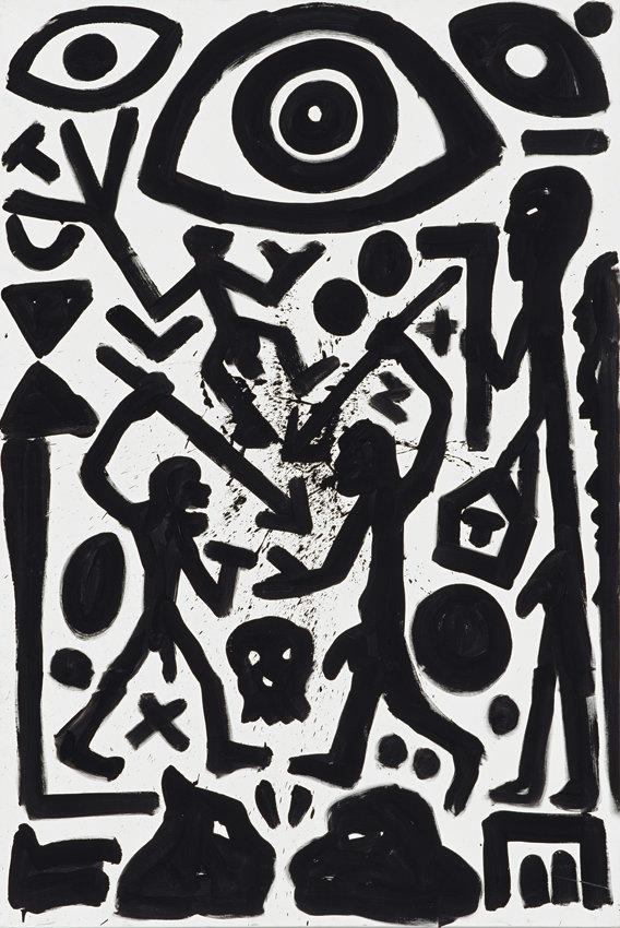 A.R. Penck, Afrika paranoia jetzt, 1995, Acryl auf Leinwand, 300 x 200 cm