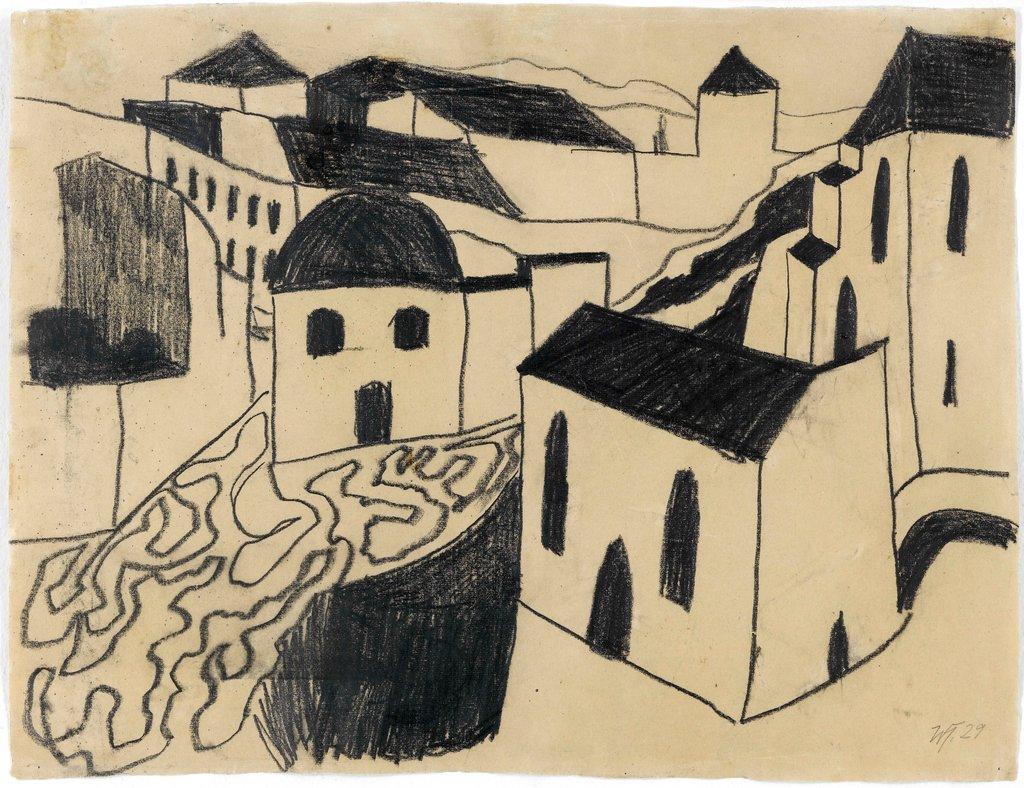Werner Heldt, Häusergruppe am Berg (Stadt), 1929, Grafitfettstift und Kohle auf Bütten, 48 x 62,8 cm