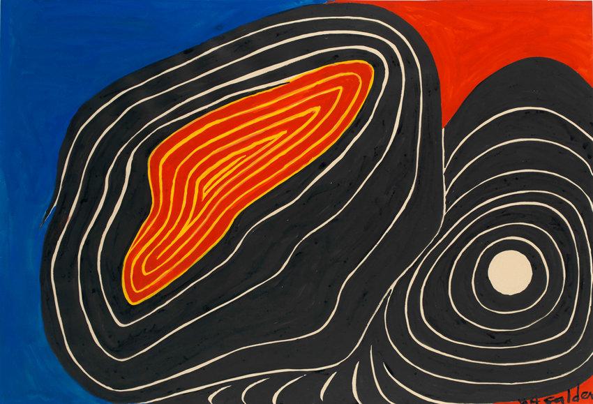 Alexander Calder, Split Boulders, 1974, Gouache und Tusche auf Papier, 74,9 x 109,9 cm