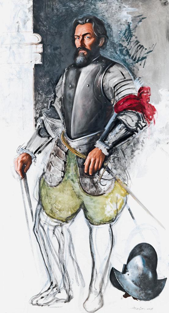 David Nicholson, Fictionalized Portrait of Cortés, 2018, Öl und Kohle auf Leinwand, 221 x 120,5 cm