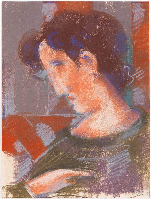 Oskar Schlemmer, Geneigte Halbfigur mit rötlichen Tönen, 1933, Pastel auf Papier, 55 x 41.5 cm