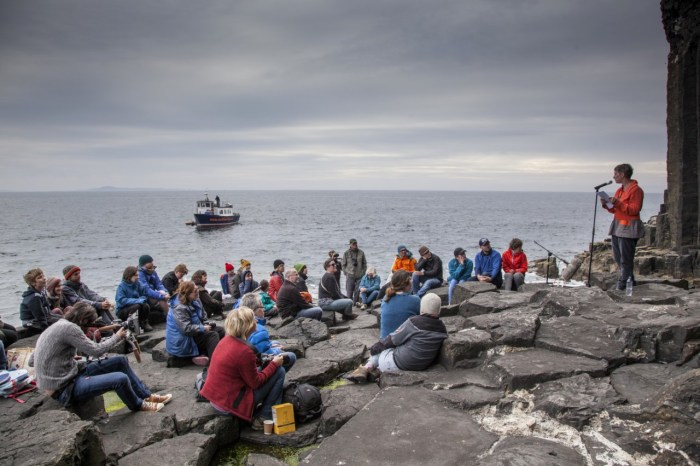 Felt Events performance with Raymond Macdonald, Staffa 2014. Image credit - An Tobar
