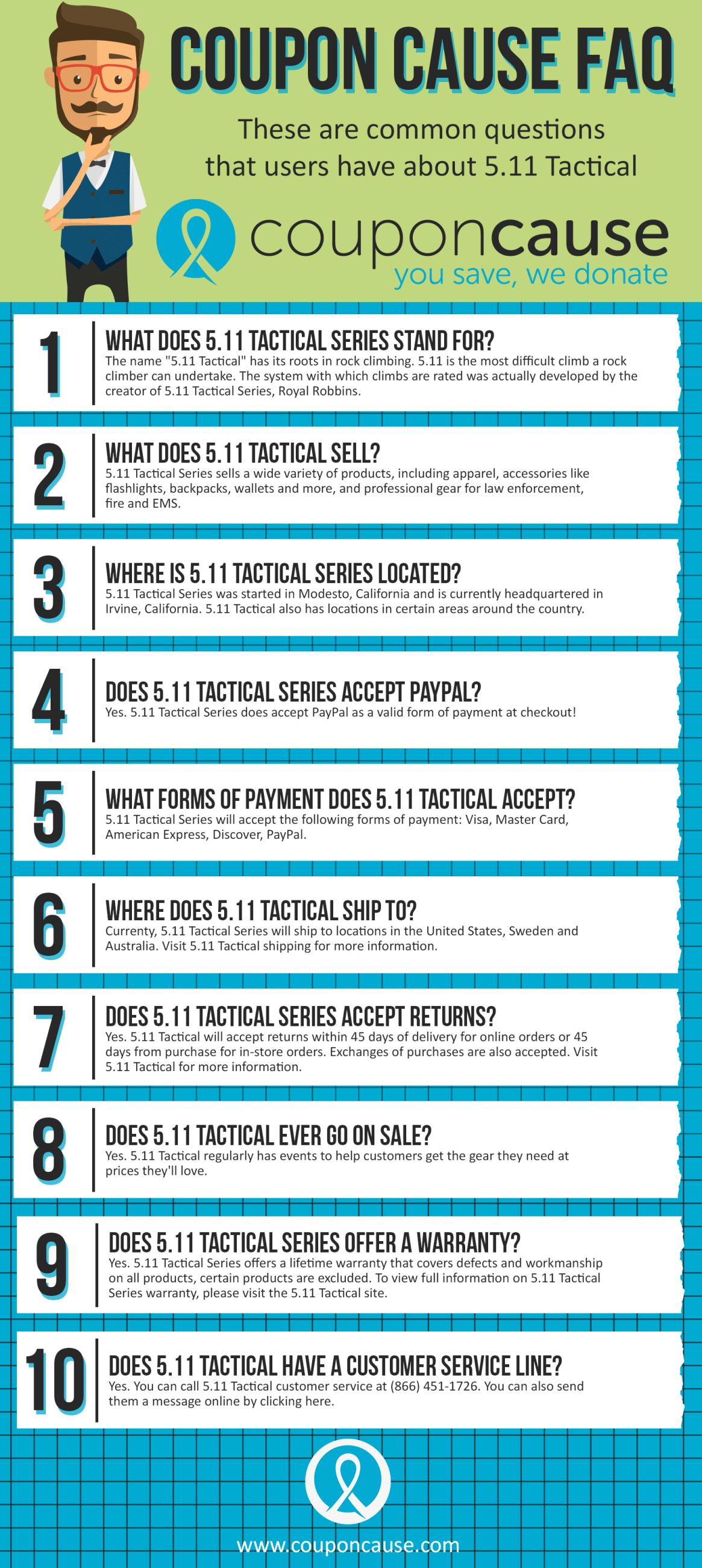 5.11Tactical Coupon Cause FAQ (C.C. FAQ)