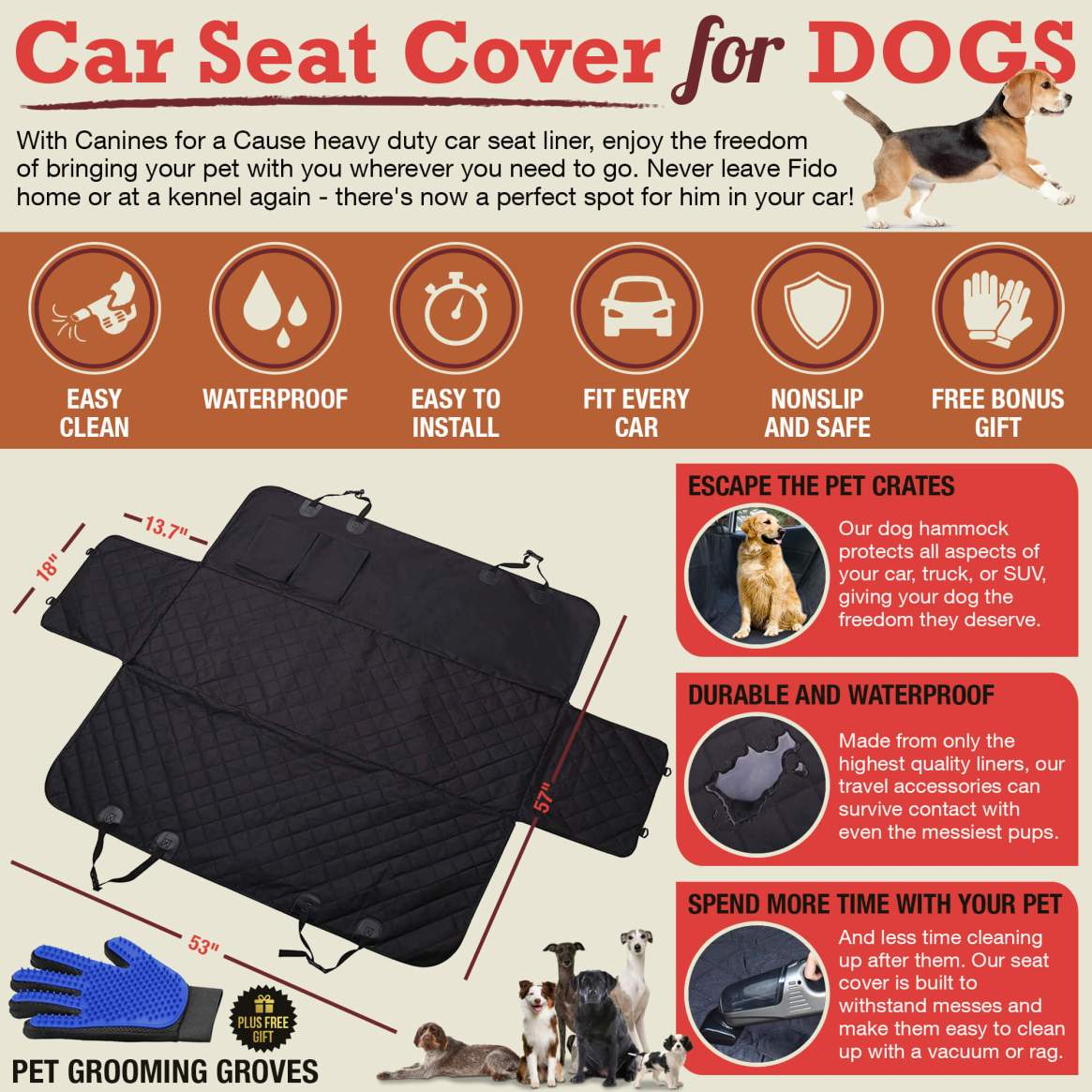 Canines with a Cause Car Seat Cover for Dogs