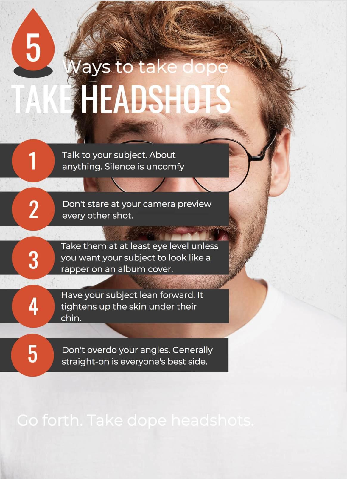 Five Tips for Takin Great Headshots