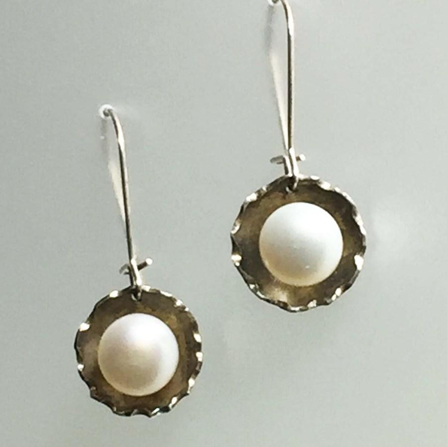 Sterling Pearl Earrings