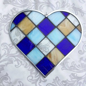 Blue and Amber Checkerboard stained glass heart