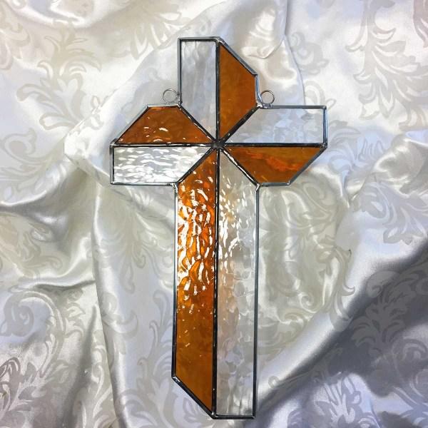 Amber Pinwheel Stained glass cross