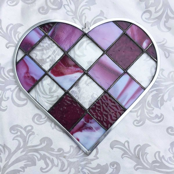 cranberry pink checkerboard stained glass heart