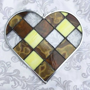 Honey amber Gold stained glass heart