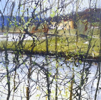 Chatsworth framed by nature. acrylic on panel: 20x20cm:£395.00
