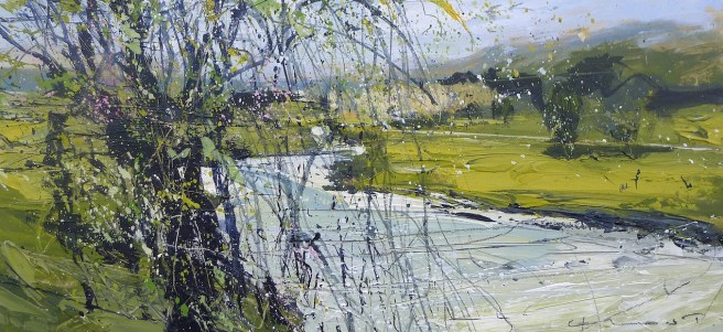 It's spring and the Derwent glides gracefully by...: Acrylic on panel:40x18.5cm:£795.00