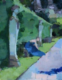 The Avenue leading from the Ring Pond with Sarah sitting on plinth, morning, Chatsworth 28 x 22 cm