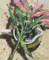 Flowers and vessel No1 - 30x26cm plus frame - acrylic on panel - £795.00