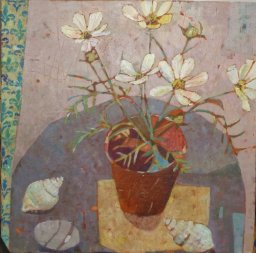 Sally Anne Fitter 'Cosmos, Pebble & Two Shells' 24 x 24