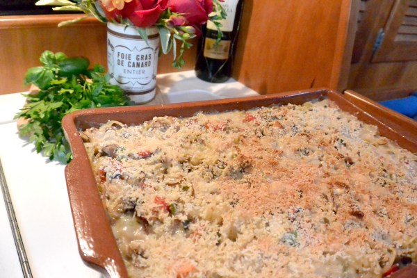 turkey tetrazzini in the pan