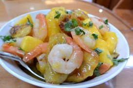 shrimp mango plantains in dish