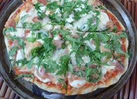 prosciutto pizza slice opening photo