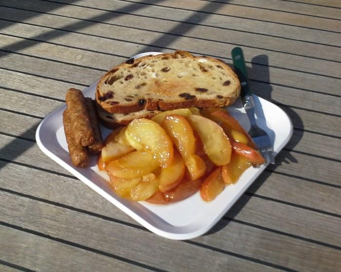 Caramelized apples served