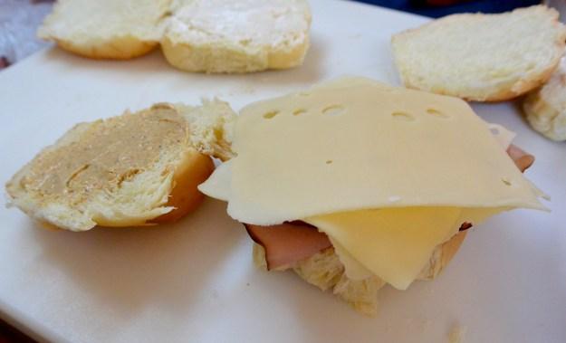 making ham and cheese