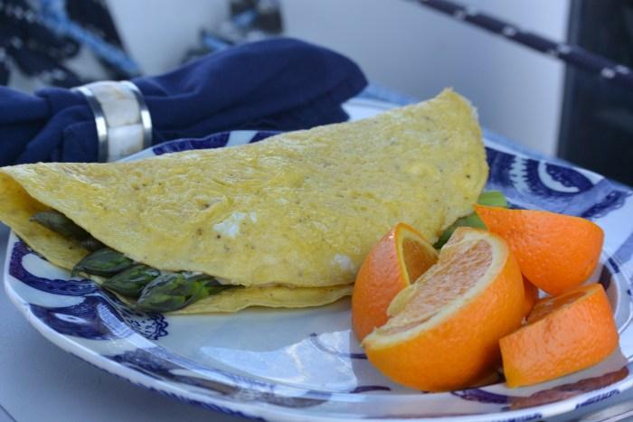 asparagus omelette in cockpit 1